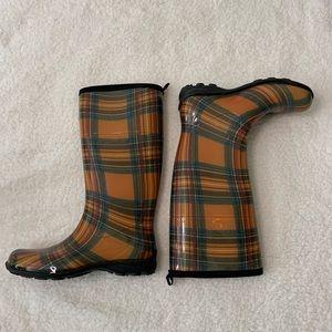 Kamik Tartan Plaid Rain Boots Fall Colors